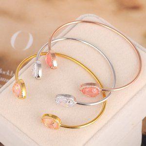 Henri Bendel Zircon Drop-Shaped Opening Bracelet